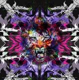 与老虎的抽象派图片 向量例证