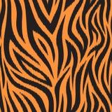 与老虎皮肤的无缝的样式 黑和橙色老虎条纹 普遍的纹理 向量例证