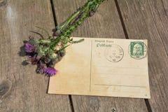 与老邮票的老空白的葡萄酒明信片在与桃红色玫瑰和鸟嘴的老木头 库存图片