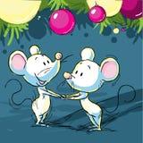 与老鼠和xmas球的圣诞节静物画 库存图片