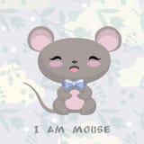 与老鼠的逗人喜爱的例证 花背景和云彩 图库摄影