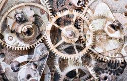 与老齿轮的抽象背景 免版税库存照片