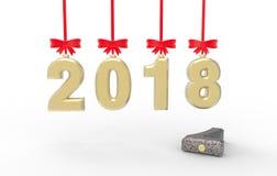 与老2017个3d例证的新年2018年 免版税库存图片