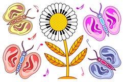 与耳朵和一朵花的蝴蝶与键盘 库存图片