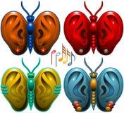 与耳朵的四只蝴蝶 免版税库存照片