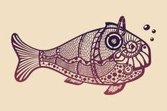 与耳机的鱼 库存图片