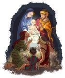与耶稣、玛丽、约瑟夫和shephe的诞生场面 免版税图库摄影
