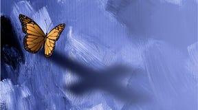 与耶稣十字架的阴影的图表蝴蝶  免版税库存图片