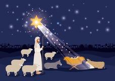与耶稣婴孩和sheeper的圣诞快乐卡片 向量例证