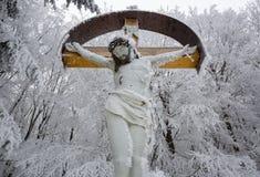 与耶稣,喀尔巴阡山脉,斯洛伐克的木十字架 库存图片