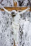 与耶稣,喀尔巴阡山脉,斯洛伐克的木十字架 库存照片