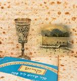 与耶路撒冷西部墙壁和逾越节Matzoth的欢乐拼贴画作为背景 免版税库存照片