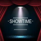 与聚光灯照亮的帷幕的Showtime背景 免版税库存图片