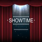 与聚光灯照亮的帷幕的Showtime背景 图库摄影