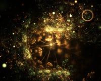 与聚光灯的抽象金黄绿的闪耀的水下的分数维背景在黑背景 分数维艺术 库存图片