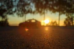 与聚焦的深刻的早晨黎明在夏天太阳的橙色光芒在路的反对被弄脏的背景的树树丛 库存照片
