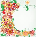 与聪慧的花、叶子和神仙的背景 免版税库存图片
