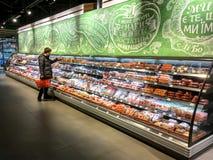 与肉、香肠、火腿和香肠的分类的陈列室 免版税库存图片
