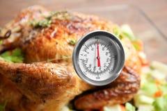 与肉温度计的金黄烤火鸡, 库存图片