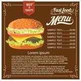 与肉菜单和费用的汉堡在葡萄酒背景 库存照片