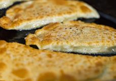 与肉装填和大白菜的辣水多的gedza饺子在煎锅金黄外壳特写镜头油煎了 免版税库存照片