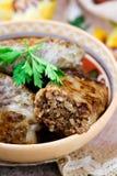 与肝脏,传统乌克兰烹调盘的Grechanik  免版税库存照片