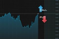 与股票出售和购买的颜色箭头双选择的图 3d例证 库存图片
