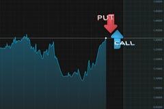 与股票出售和购买的颜色箭头双选择的图 3d例证 免版税图库摄影