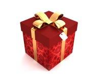 与肥腻的金子的礼物盒红色 免版税库存照片