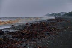 与肮脏的波浪和枝杈的海风暴在巴统乔治亚Pebble海滩  免版税库存图片
