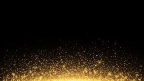 与背后照明的抽象金黄光 飞行的不可思议的金黄尘土和强光 欢乐背景的圣诞节 栾树 向量 皇族释放例证