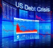 与背景数据的蓝色危机股票图 库存照片