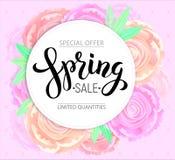 与背景桃红色牡丹的春天销售 免版税库存照片