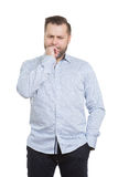 与胡子的成年男性 查出在白色 免版税库存照片