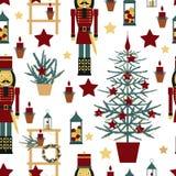 与胡桃钳的圣诞节无缝的样式 库存照片