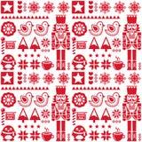 与胡桃钳的圣诞节无缝的红色样式-民间艺术样式 库存图片