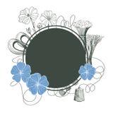 与胡麻植物花的传染媒介框架 胡麻毛线 库存图片