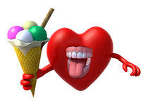 与胳膊、开放嘴和冰淇凌的心脏 免版税库存照片