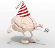 与胳膊、腿、党盖帽和吹风机的脑子 免版税库存图片