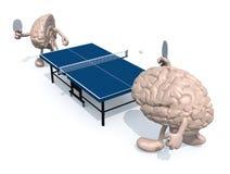 与胳膊和腿的两半脑子那播放对乒乓球 免版税库存照片