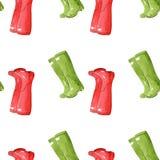 与胶靴的逗人喜爱的无缝的手拉的样式 免版税库存图片