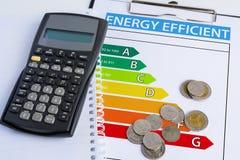 与能量规定值图的节能概念 免版税库存照片