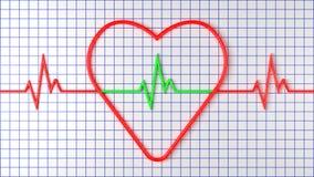 与脉冲的红色心脏在座标图纸 3d翻译 免版税库存图片