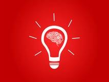 与脑子的电灯泡 免版税库存照片