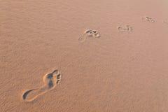与脚印刷品的沙丘 库存照片