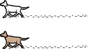 与脚印的走的狗 皇族释放例证