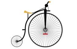 与脚蹬和重要人物的老自行车模型 向量例证
