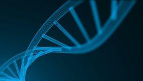 与脱氧核糖核酸,科学概念,未来派计算机生成的例证分子的抽象3d背景与许多小点的