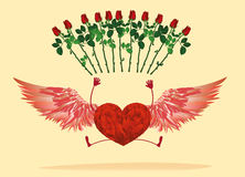 与腿和美丽的翼的红色心脏 弹起和培养 库存照片