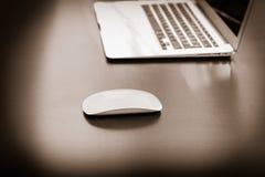 与膝上型计算机办公室的老鼠 免版税库存图片